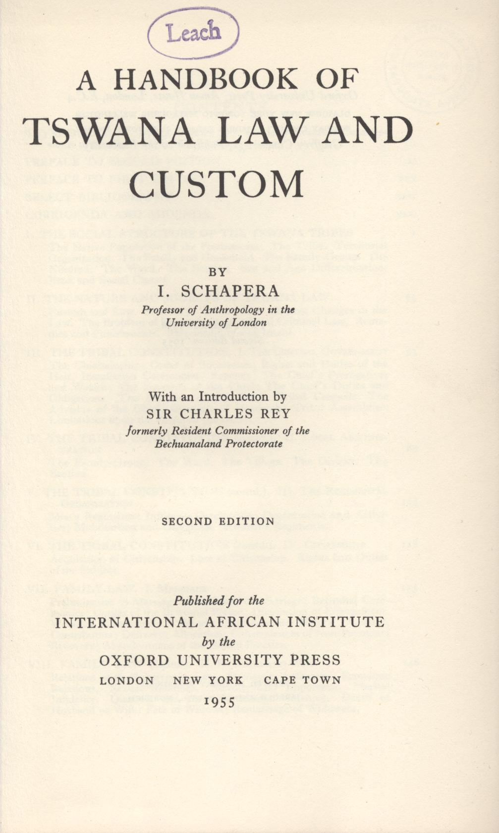 Copertina di A Handbook of Tswana Law and Custom
